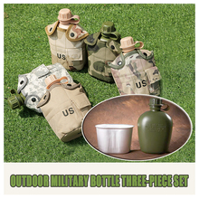 Army fan US single soldier camouflage outdoor sport bottle 3-pieces set camouflage tactical kettle portable sports bottle outdoor camouflage military uniform fashion jacket set female 3 sets of camouflage army fan supplies