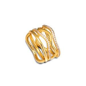 Nowe wirujące linie pierścienie dla kobiet złoty połysk biżuteria wyczyść CZ szeroki projekt kobiet pierścień biżuteria 925 srebro kobiet pierścienie