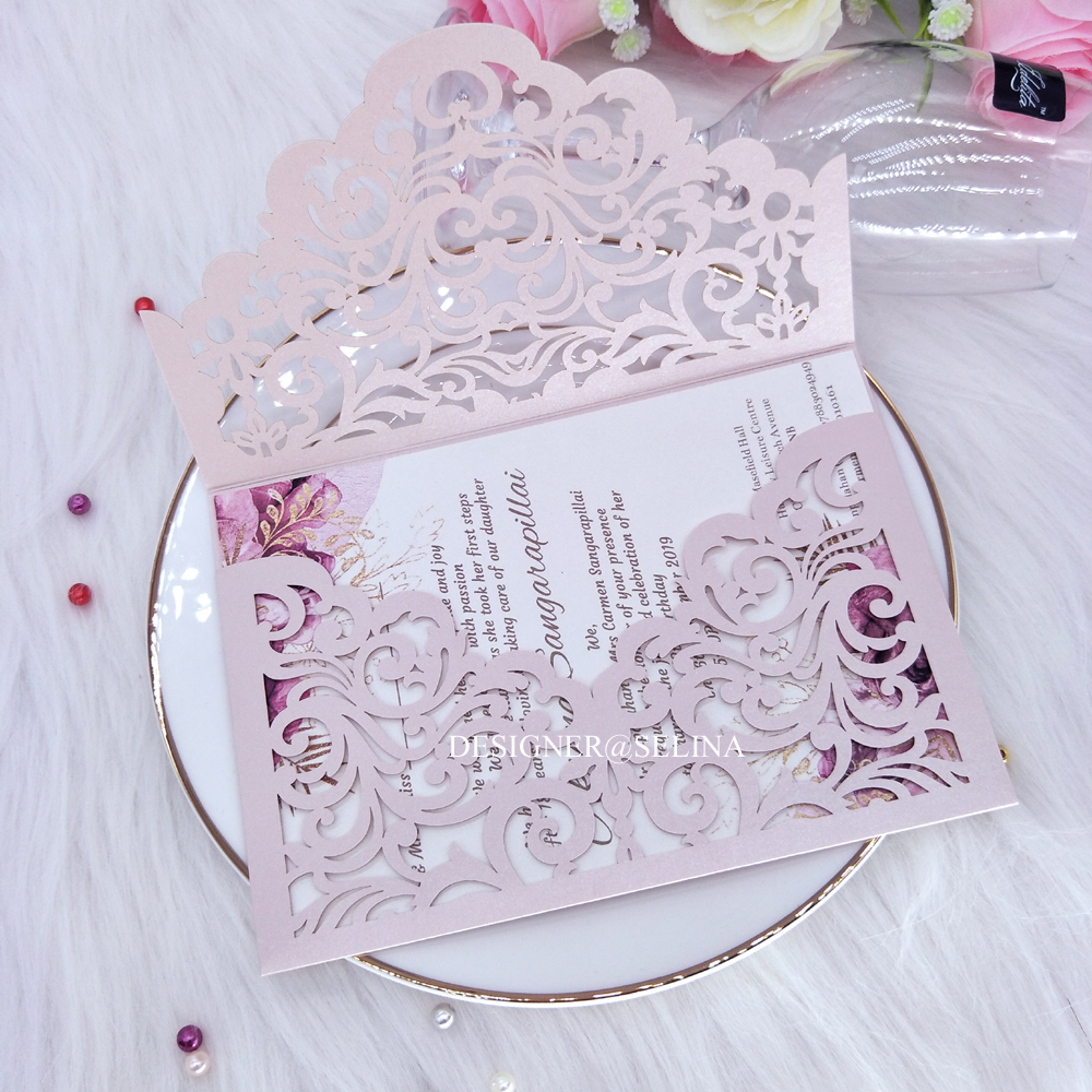 Cordially Inviting Light Pink Laser Cut