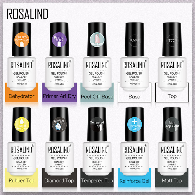 ROSALIND Base Top Primer Matt Gel Nail Polish Semi Permanent Nail Art Foundation Gel Reinforce No Wipe Gel Long Lasting Lacquer
