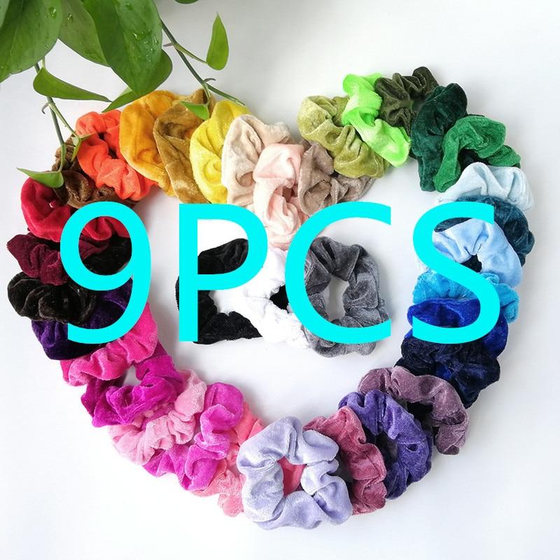 20/15/9PCS Velvet Scrunchie Women Girls Elastic Hair Rubber Bands Accessories Gum For Women Tie Hair Ring Rope Ponytail Holder - Цвет: C