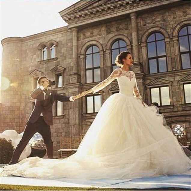 2018 sexy long sleeve lace appliques vintage ball bridal gown luxury vestido de noiva casamento mother of the bride dresses