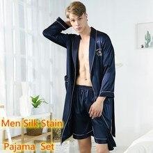 Loungewear Men Nightgown-Top Sets Robes Silk Pajama Satin Pants Shorts Sexy Hombre