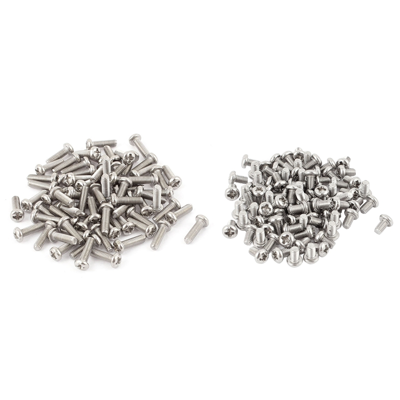 60Pcs M3 X 5mm 304 Stainless Steel Phillips Pan Head Bolt ,Silver & 60Pcs M3 X 10mm
