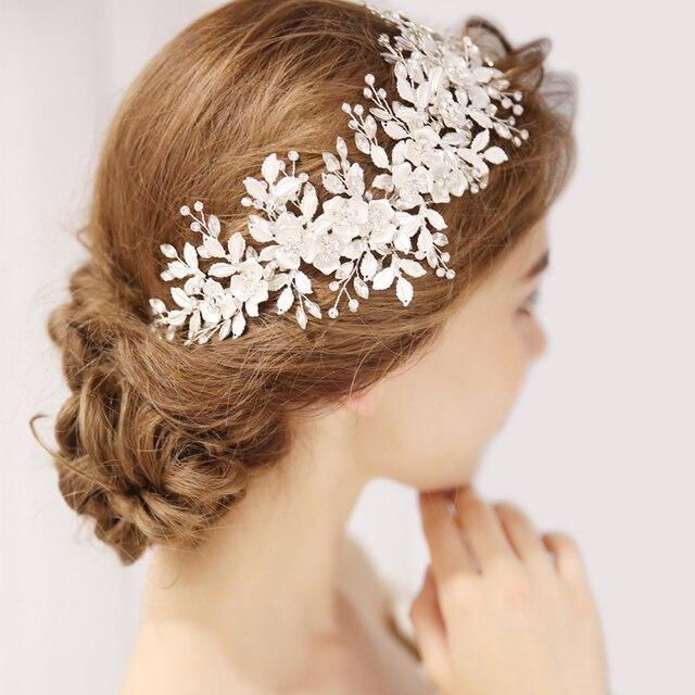 ファッション 2020 シルバー花ブライダルかぶとティアラウェディングヘアアクセサリーつる手作りヘッドバンドヘアアクセサリー花嫁のための