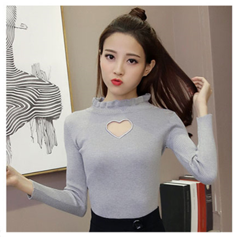 Women Japanese Sweet Love Heart Hollow Out Sexy Bottoming Shirt Knitted Sweaters White Gilrs Lovely Cute Full Sleeve Knitwear