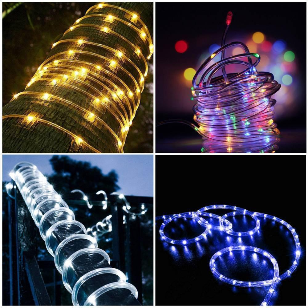 12M 100 LED Outdoor Solar Lamps 50/100 LEDs Rope Tube String Lights Fairy Holiday Christmas Party Solar Garden Waterproof Lights
