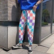 Plaid Casual Pants Men's Fashion Contrast Color Drawstring Joggers Harem Pants Men Streetwear Loose Hip Hop Trousers Mens M-2XL new summer contrast color stripe harem pants men casual sport street trousers mens cotton letter sweatpants breathable fashion