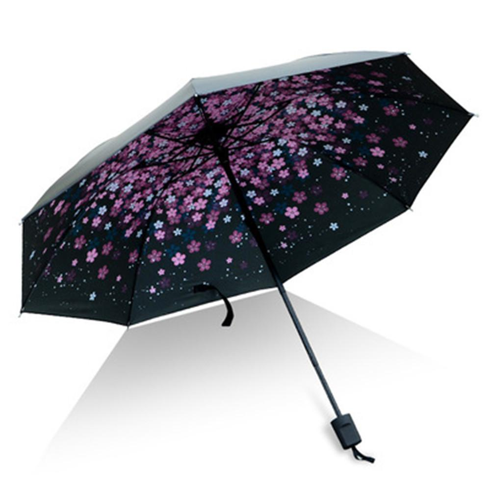 UV Clear Umbrella Three Fold Thickened Black Glue Sunscreen Sun Umbrella Nine Plywood White Umbrella Women Parasol Uv Paraguas|Umbrellas| |  - title=
