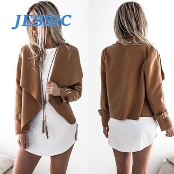 JESSIC Europe Style Woman Coat Winter Wool Autumn Spring Female Long Sleeve Plus Size Coat Solid Turndown Collar Jacket image