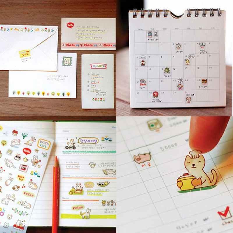 Willekeurige Stijl 6 stks/set Kawaii Papier Stickers Cartoon Kat Sticky Papier Voor Kids Gift DIY Scrapbooking Stickers Briefpapier