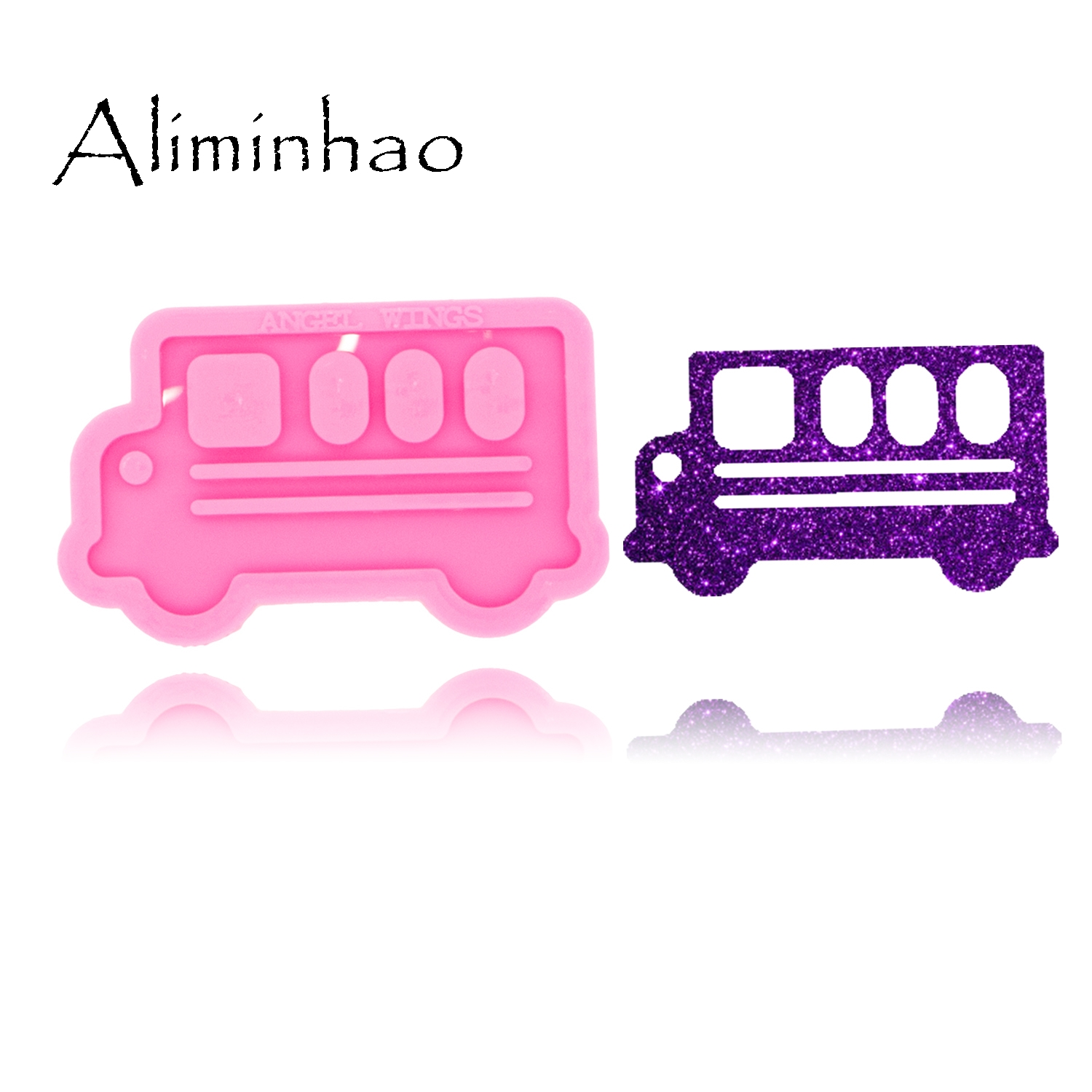 DY0462 Shiny Glossy Bus Shape Necklace Jewelry Epoxy Silicon Mould Crafting Keychain Resin Silicone Mold
