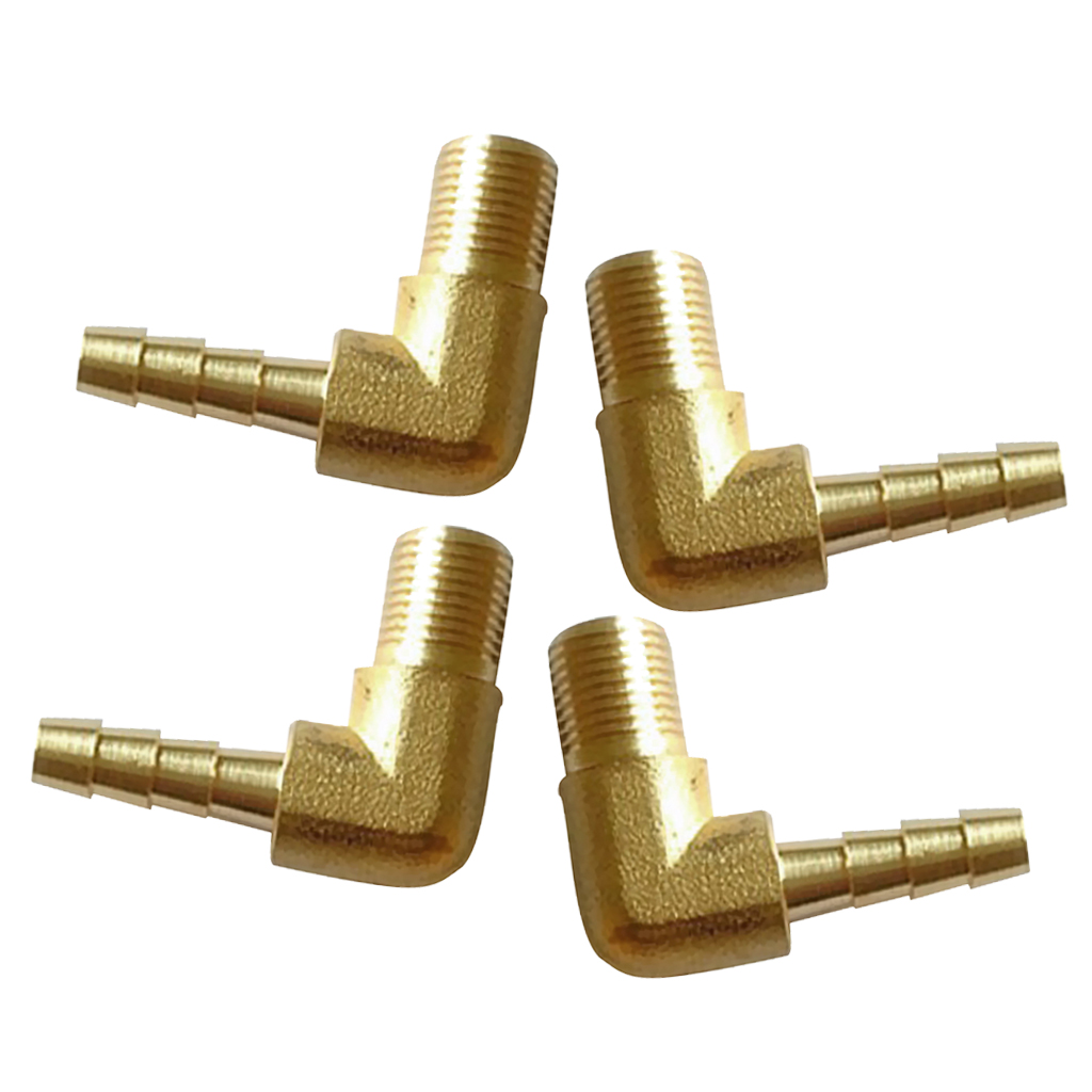 10pcs 1//8 Inch BSP Male Threads x 8mm Inch Barb Elbow Fuel Hose Barb Fitting