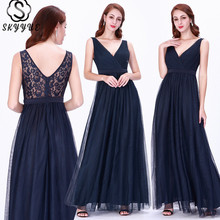 Skyyue Lace Sleeveless Elegant Robe De Soiree Formal Gowns Sexy Double V-neck Long Evening Dress Women Party Dresses 2019 C463