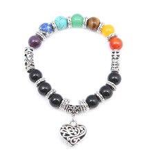 Bohemian Color Chakra Retro Bracelet Heart Pendant