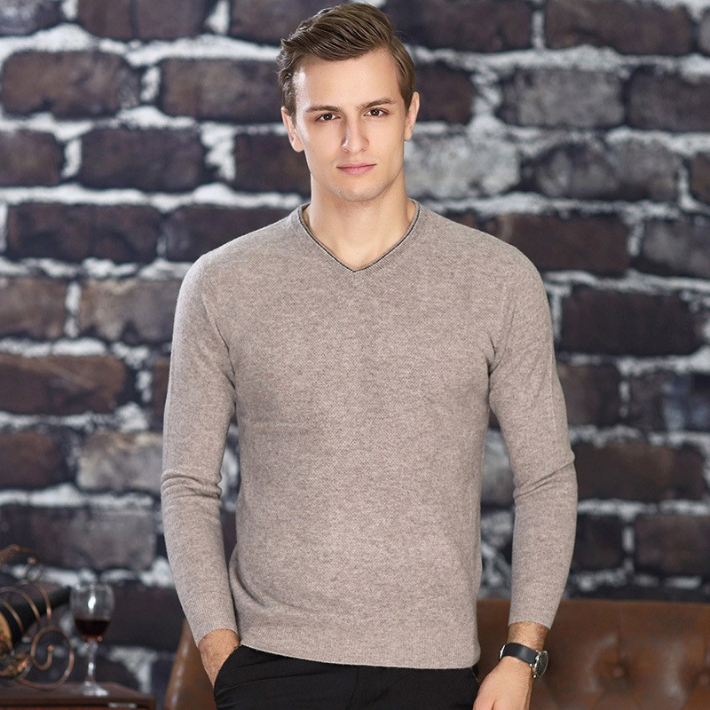 Men Brand Luxury 100% Cashmere Business Casual V-Neck Winter Warm Slim Pullovers Male Thick Fashion Sweater Tops