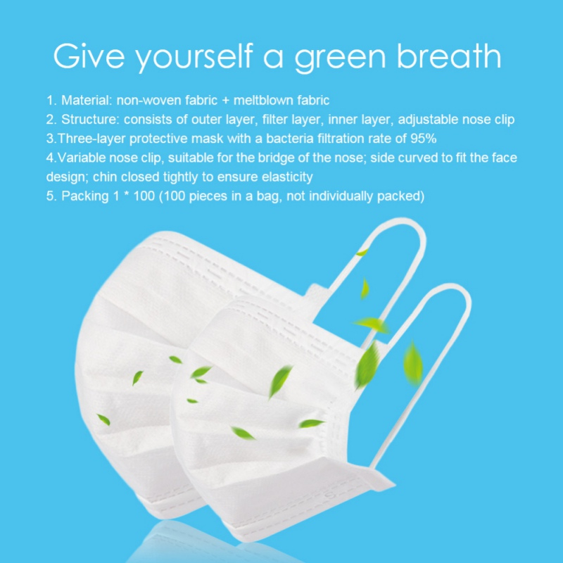Image 4 - 100pcs Medical Face Masks Disposable Anti Dust Mask 3 layers Non  woven Filter Earloops Breathable Face Mask Protective Masks  -