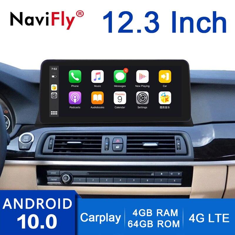 """NaviFly – autoradio 10.25 """"/12.3"""", Android 10.0, Navigation GPS, lecteur DVD, système CIC/NBT, pour voiture BMW série 5 F10/F11/520 (2011 – 2016)  """