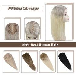 Adornos para el pelo Moresoo, máquina para el pelo humano Remy, topes para mujeres de 5*5 pulgadas, 8-18 pulgadas, Color puro degradado, Color Balayage