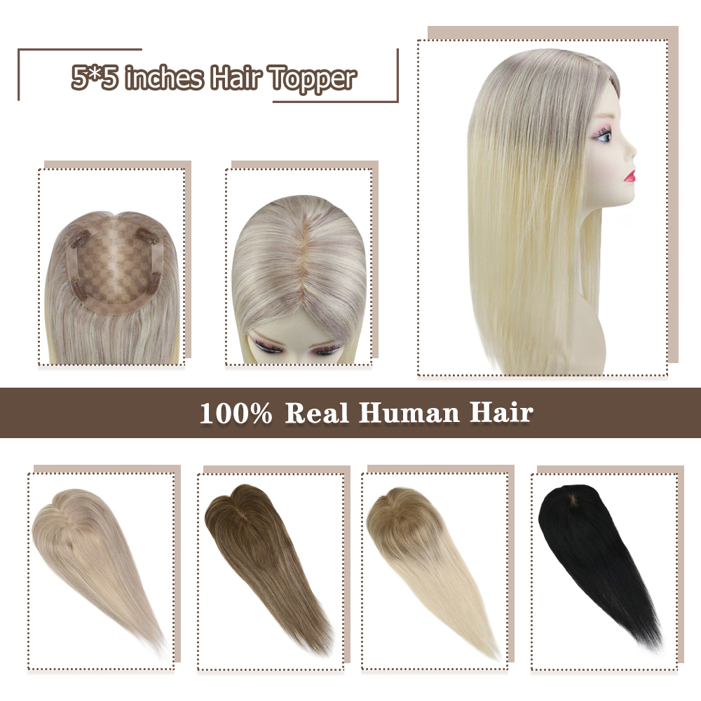Moresoo Hair Topper Machine Remy Human Hair Toppers Toupee Women 5*5 Inches 8-18 Inches Pure Color Ombre Color Balayage Color