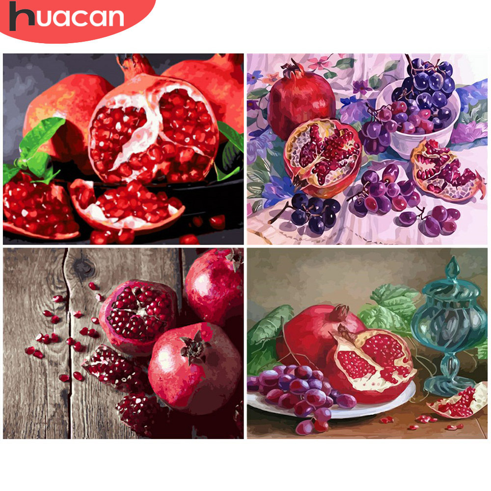 HUACAN Painting By Numbers Fruit Drawing On Canvas HandPainted Art Gift DIY Picture By Number Still Life Kits Home Decor
