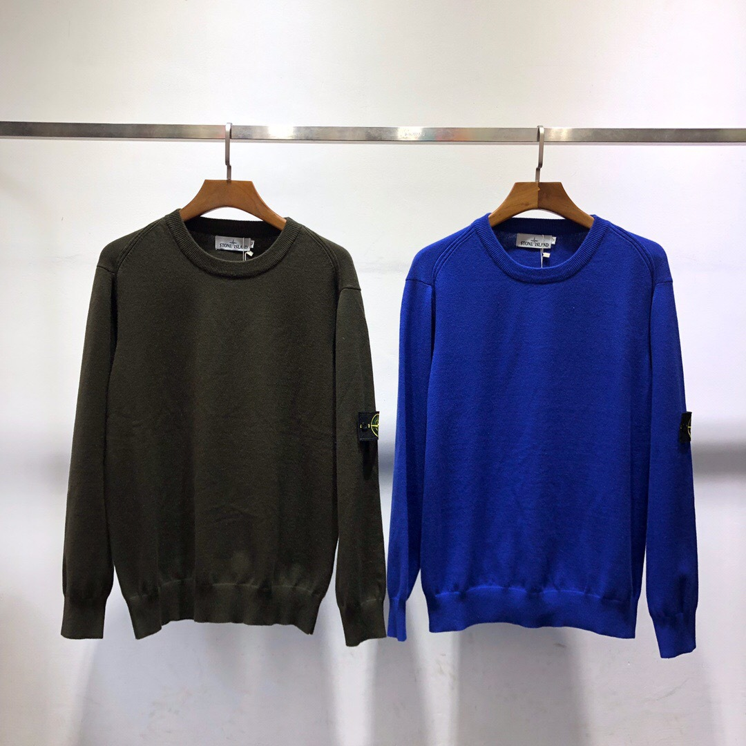 Autumn And Winter New Style Popular Brand Stone Island Sweater Base-Compass Armband Crew Neck Pullover Couples Knitted Sweater F