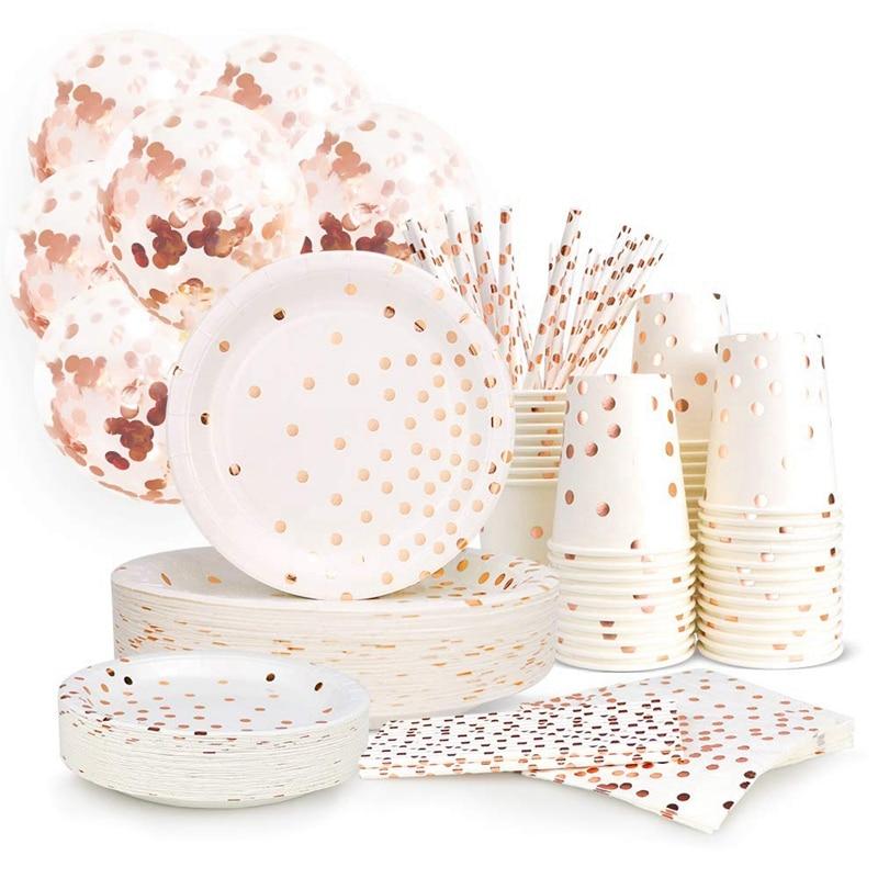 Mode-300 pièces Rose or papier fête fournitures jetable assiette en papier ensemble de couverts Rose or point chaud estampage plaque
