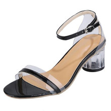 buckle transparent sandals womens high-heeled summer new ladies crystal heel thick-heeled shoes platform