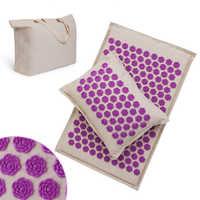 Procircle acupressure esteira travesseiro conjunto para massagem de linho algodão acupuntura esteira com volta pescoço saco alívio da dor melhor sono mais profundo