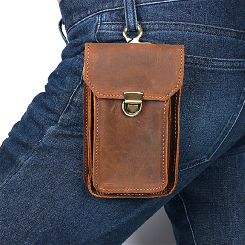 Brand Men Genuine Leather Belt Loop Waist Bag Crazy Horse Leather Fanny Waist Pack Vintage Causal Buckle Flap Pocket Pouch