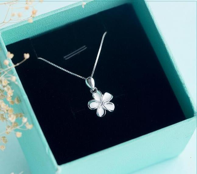 925 Real. Sterling Silver White Enamel Flower Plumeria Hawaii Necklace Hibiscus Pendant With CZ Chain 18