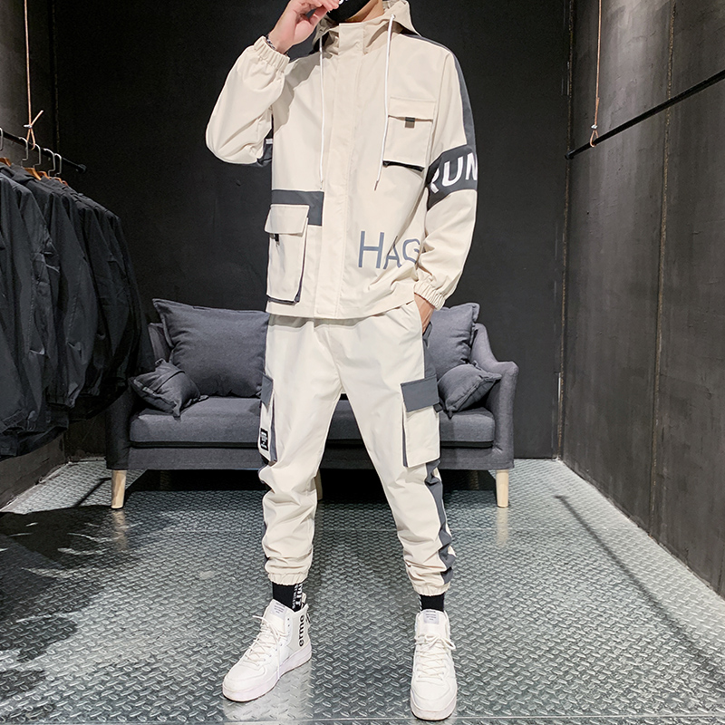 Men Autumn Sportswear Sets Polyester Fashion Men Jogger Suit Two Piece Outfits Pantalon Chandal Hombre Windbreaker Set HH50TZ
