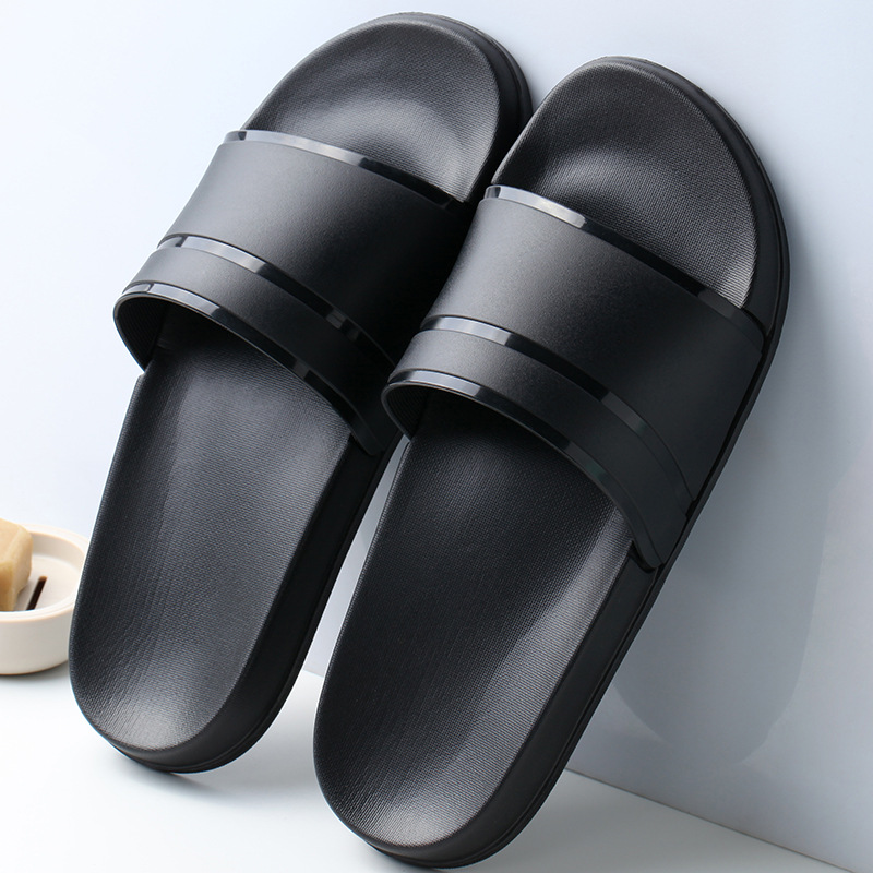 2020 New Hot Summer Men Slippers Casual Black White Shoes Non-slip Slides Bathroom Sandals Soft Sole Women Plus Size 47