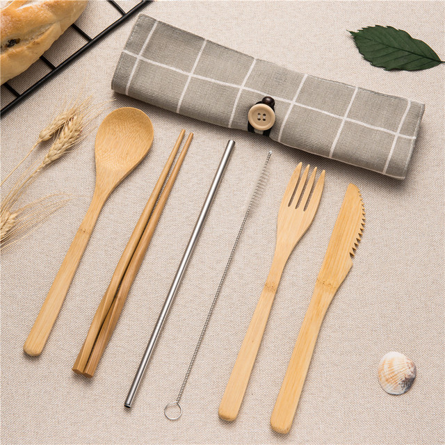 Tableware Set Bamboo Cutlery Set Wood Straw with Travel Cloth Bag Wooden Spoon Fork Knife Dinnerware Set Wholesale 4