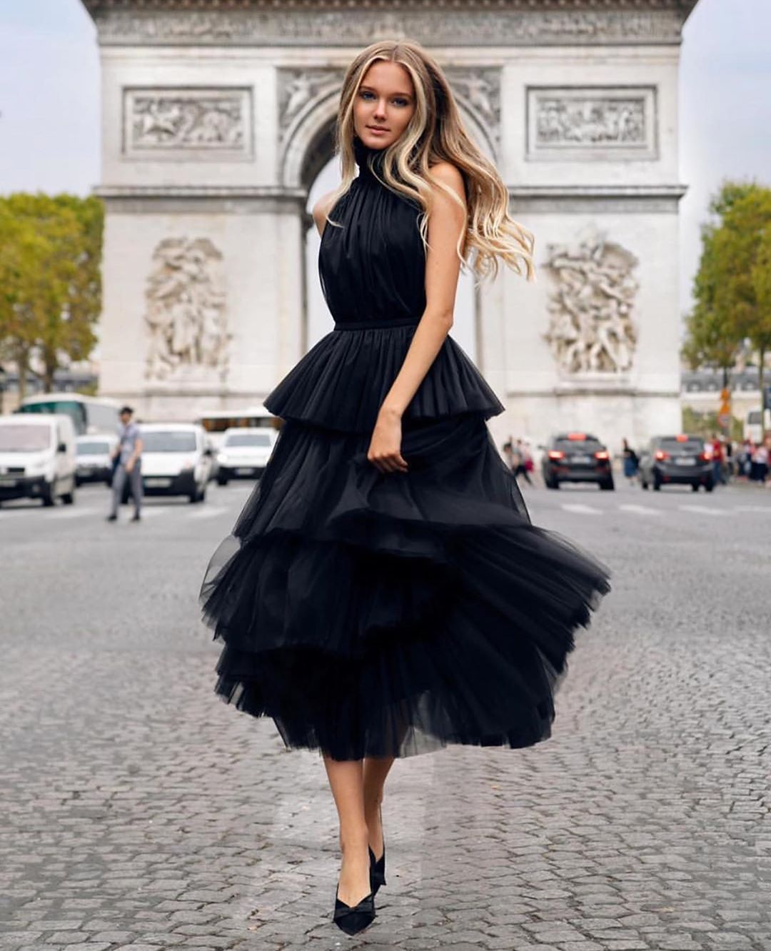 Black Tulle <font><b>Tea</b></font> <font><b>Length</b></font> <font><b>Prom</b></font> <font><b>Dress</b></font> Halter Tiered Sexy Open Back Women Formal Evening <font><b>Dresses</b></font> Long Special Occasion Party Gowns image