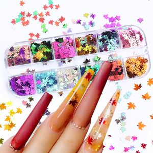 12 Grids Mirror Maple Leaf Nail Glitter Sequin Holographic Butterfly Gradient Ultrathin Flakes Yellow Autumn Polish Decor SAFY-1