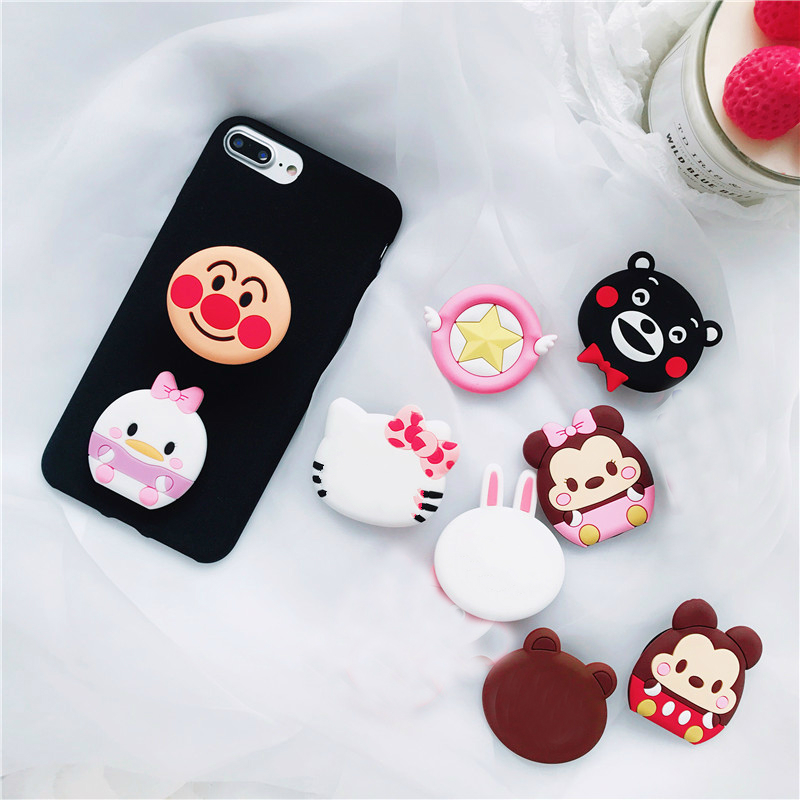 Universal Phone Stand Bracket Expanding Stand Stretch Grip Phone Holder Socket Finger Cute Cartoon Stand For Iphone 66S 7 8 X XS