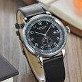 Parnis 42 мм черный циферблат автоматические механические мужские часы сапфир Серебряный корпус календарь Мужские часы montre homme 2019 мужские часы