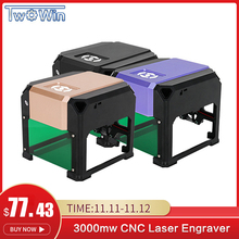 3000 mW del Laser di CNC Incisore FAI DA TE Logo Marchio Stampante Incisione Laser Macchina di Lavorazione Del Legno 80x80mm Incisione Gamma