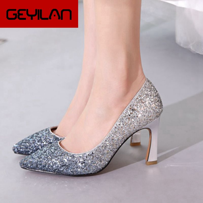 Women Shoes Fashion Sequined High Heels Sexy Thin High Heels Pumps Pointed Toe Slip On Party Wedding Shoes 2019 Gold Silver