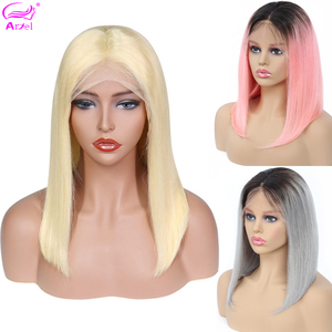 613 Blonde Short Lace Front Human Hair Wigs Brazilian Straight Remy Ombre Bob Wig 1b/27 30 99j Grey Blue Pink Lace Front Wigs(China)