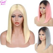 Pelucas de cabello humano 613 rubio corto con encaje frontal, pelucas de cabello humano brasileño liso Remy Ombre Bob 1b/27 30 99j gris azul rosa con encaje frontal