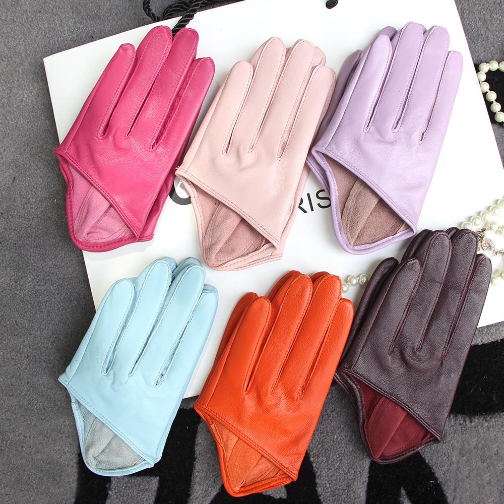 Солнцезащитные перчатки женские одиночные натуральные кожаные полупальмовые перчатки Real Sheepskin Stage Show вождение перчатки без подкладки
