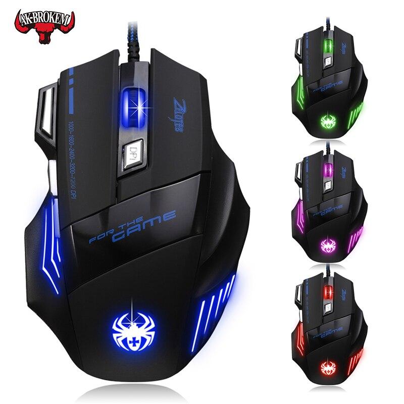 7200 точек/дюйм, Проводная игровая мышь 7 кнопок светодиодный оптический USB компьютерная мышь геймер мышь игровая мышь для ПК ноутбука-in Мыши from Компьютер и офис