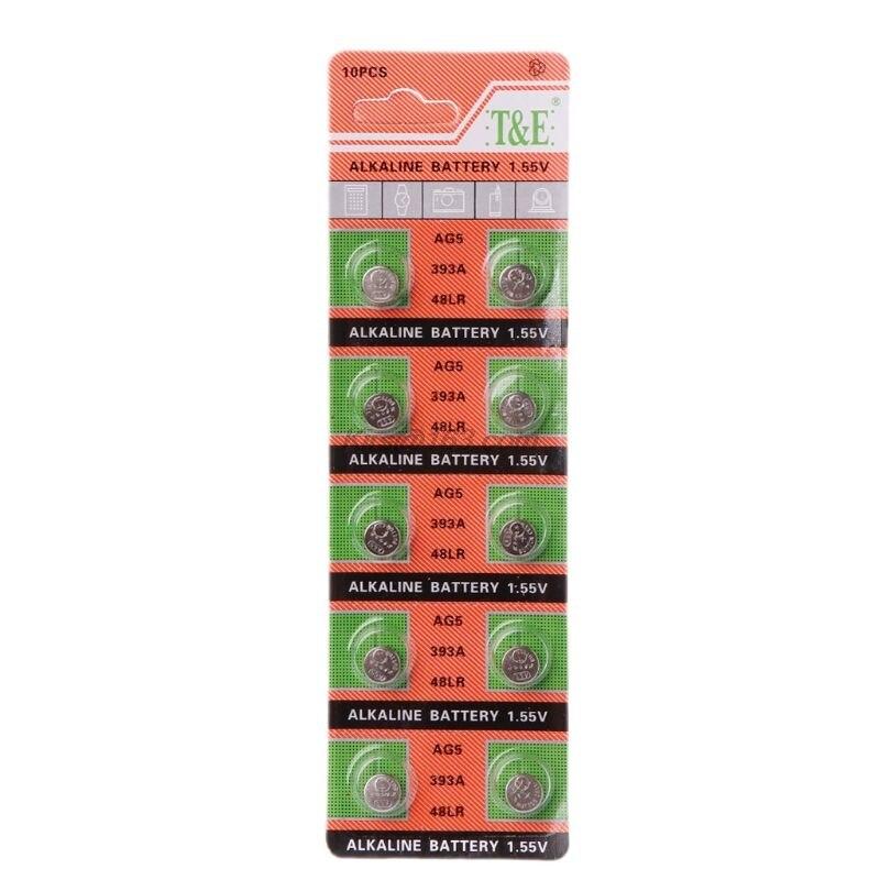 10PCS Alkaline Battery Button Coin Cell AG5 LR754 393 SR754 193 546 RW28 48 Hearing Aid Earphone Watch Batteries