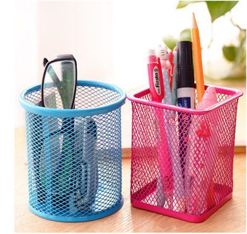 Creative Color Round Grid Metal Multi-function Pen Container South Korea-Style Desktop Office Supplies Storage Decoration