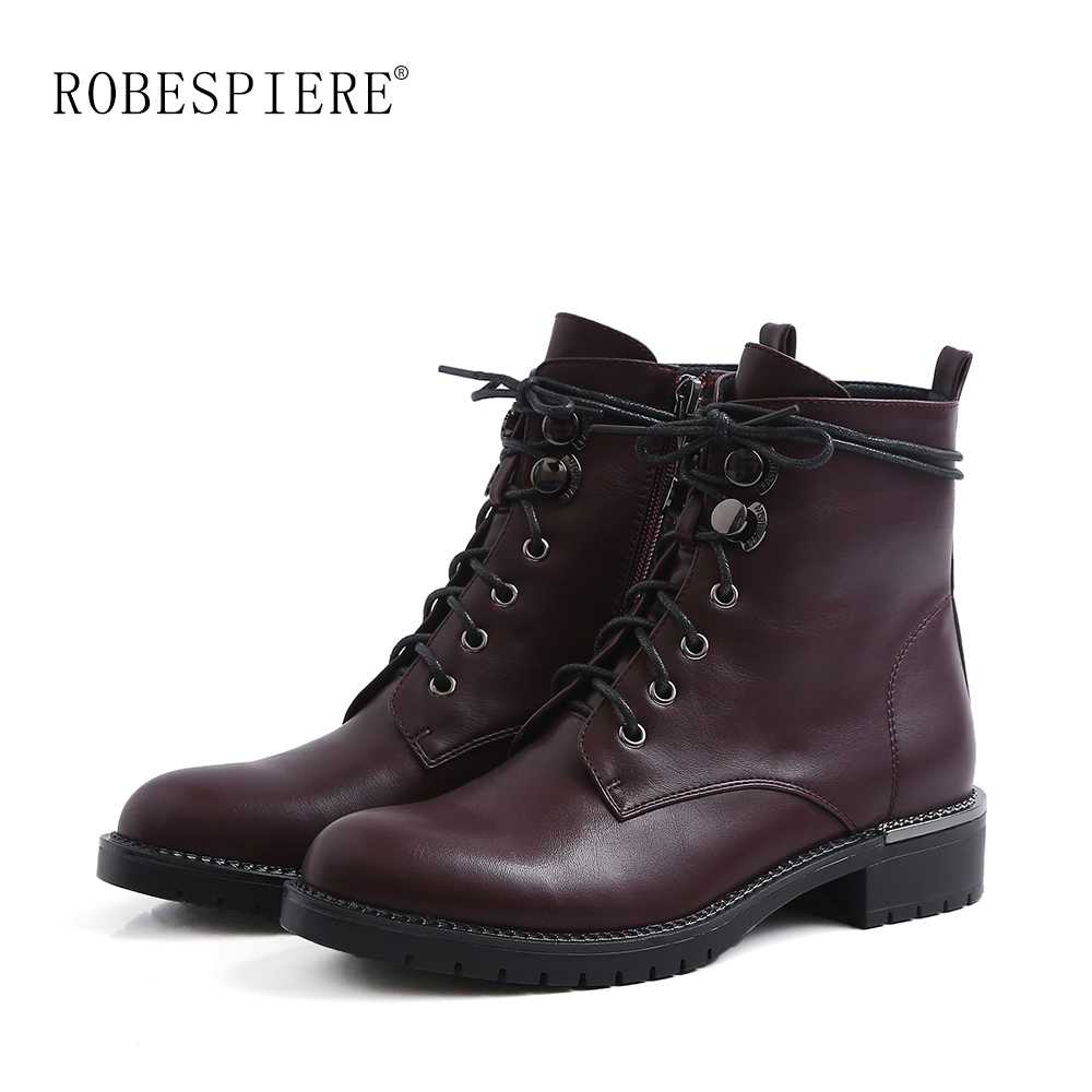 ROBESPIERE Ankle Boots For Women Lace Up Round Toe Winter Warm Shoes Platform Metal Decoration Low Heel Snow B105
