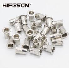 50 adet/grup paslanmaz çelik perçin somunları eklemek düz kafa dişli somun sert kap perçin perçin somun tabancası araçları paslanmaz çelik