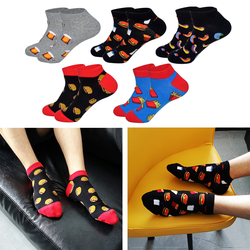 LIONZONE Hamburger Fries Pea Beer Food Men Socks Novelty Cartoon Pattern Funny Boat Sock High Qualify Combed Cotton Sock