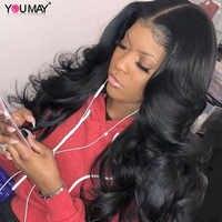 13х6 парики из человеческих волос на фронте шнурка для женщин 250 плотность объемная волна 360 синтетический фронтальный парик поддельная голо...